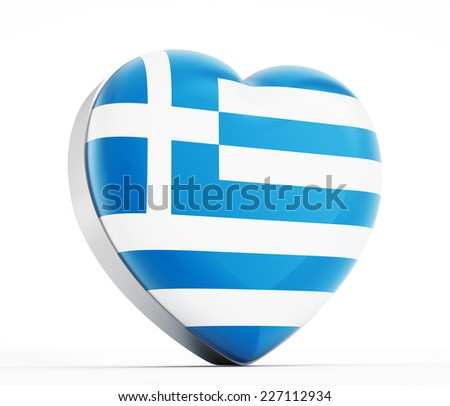 I love Greece heart shaped Greek flag. - stock photo