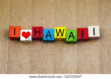 I Love Hawaii, Caribbean - sign series for US states, travel destinations and island holiday resorts