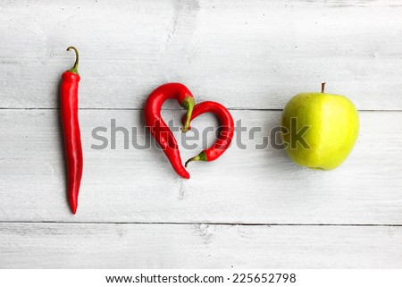 I Love healthy food photo - stock photo
