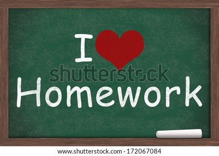 I love Homework, I heart Homework written on a chalkboard with a piece of white chalk - stock photo
