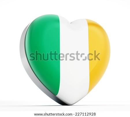 I love Ireland heart shaped Irish flag. - stock photo