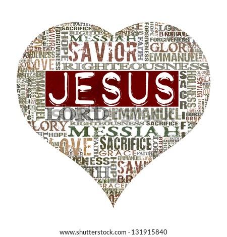I Love Jesus Religious Words Isolated On White