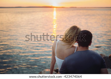 I love looking at the sunset - stock photo