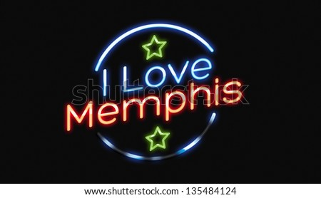 I Love Memphis neon sign - stock photo