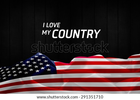 I Love My Country America flag and wood background - stock photo