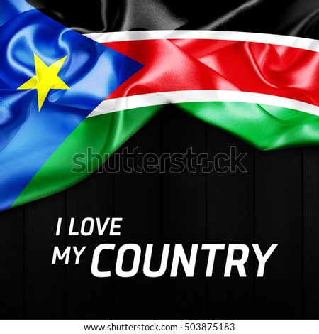 I Love my Country South Sudan Abstract Flag
