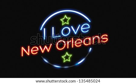 I Love New Orleans neon sign - stock photo