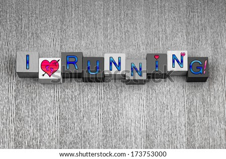 I Love running, sign series for sport, running and fitness, in blue with pink heart symbols, and pink bare feet. - stock photo