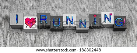 I Love Running, sign series for sport, running and fitness, in blue with pink heart symbols, and pink bare feet. Panoramic. - stock photo