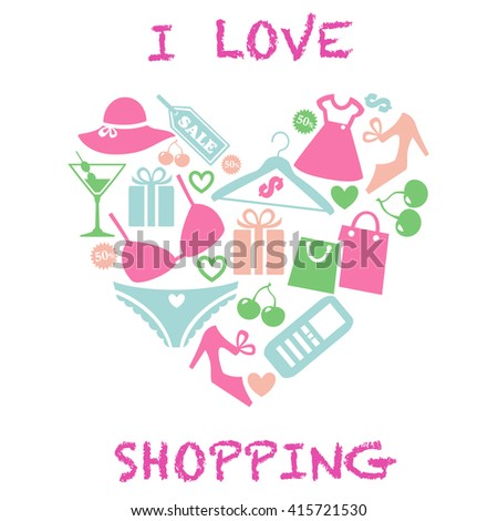 I love shopping icon. Heart shape with shopping icons. I love shopping logo. I love shopping illustration
