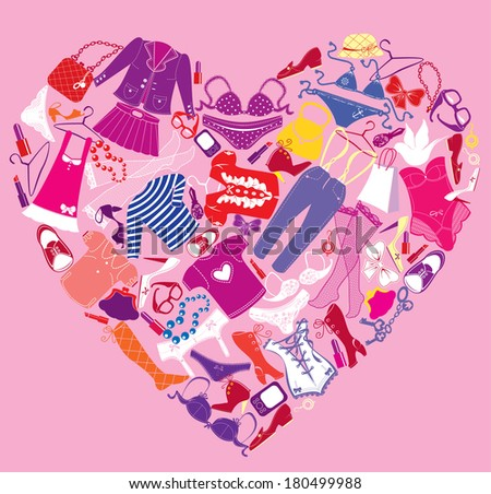 I Love Shopping image, the heart is made of different female fashion accessories and glamor clothes. Raster version - stock photo