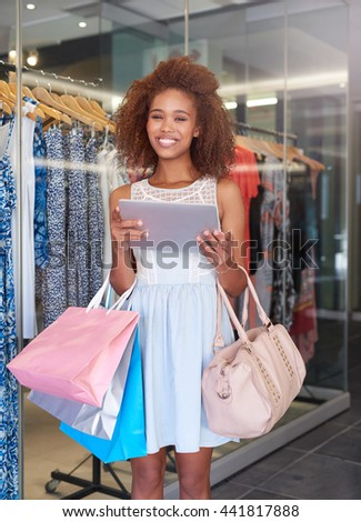 I love shopping online and at the mall - stock photo