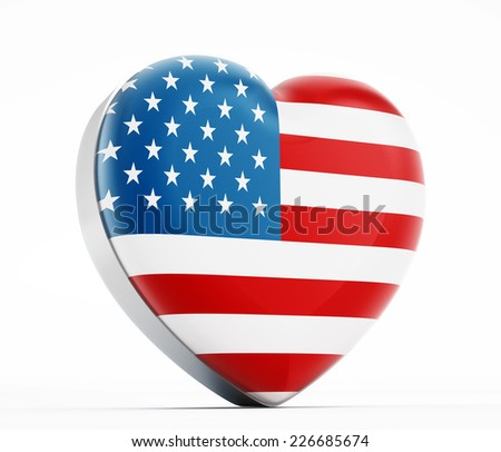 I love USA heart shaped American flag. - stock photo