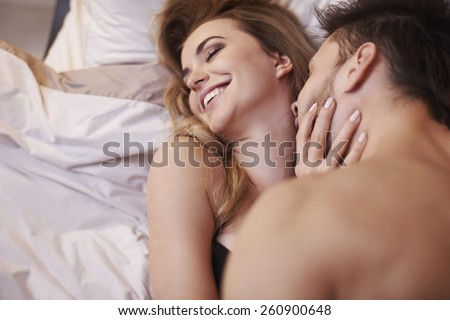 I love when he's kissing of me neck  - stock photo