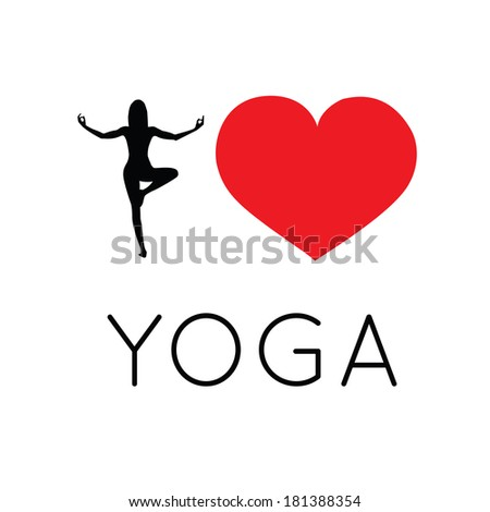 I love yoga illustration - stock photo