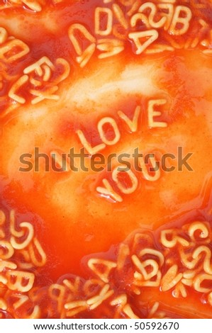 I love you concept with red pasta food - stock photo