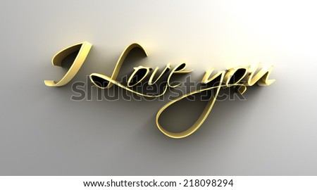 I Love You - gold 3D quality render on the wall background with soft shadow. - stock photo