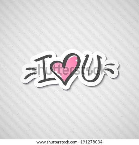 i love you, handwritten abbreviated text with heart shape - stock photo