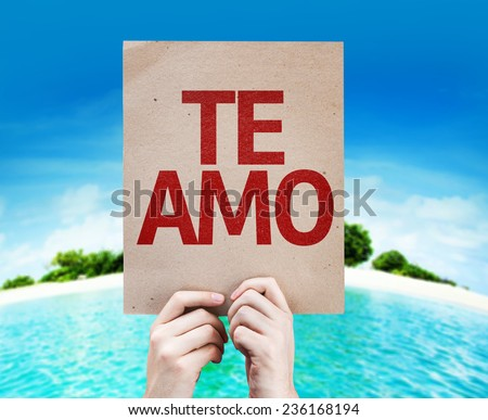 I Love You (In Spanish) card with a beach on background - stock photo