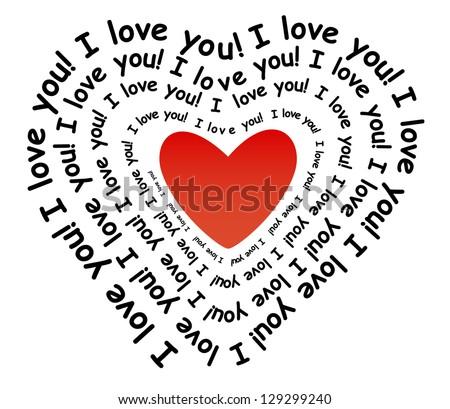 Love You Form Heart Stock Illustration 129299240 Shutterstock
