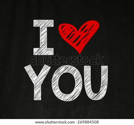 I Love You message. I Love You. Handwritten message on a chalkboard with an illustrated heart used as a symbol of love - stock photo