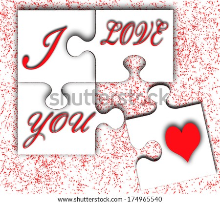 I love you message on puzzle board - stock photo