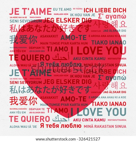 I love you message translated in different world languages - vintage card