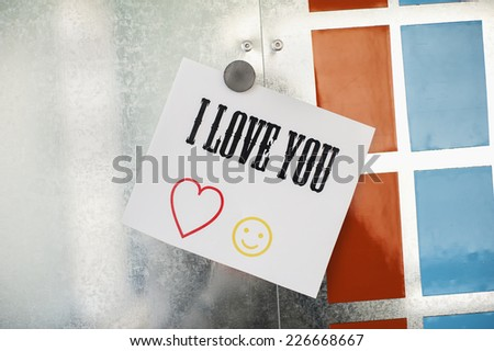 I love you note on metallic magnet board