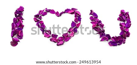 I love you phrase made from rose petals - stock photo