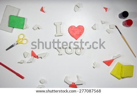 I love you sign of clay  - stock photo