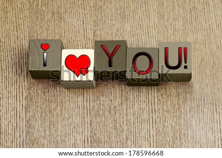 I Love You, sign series for sexy fun, passion, relationships, romance and Valentines, with heart symbols. - stock photo