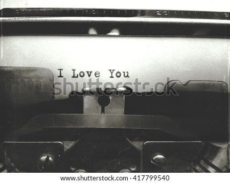 I Love you typed on a typewriter