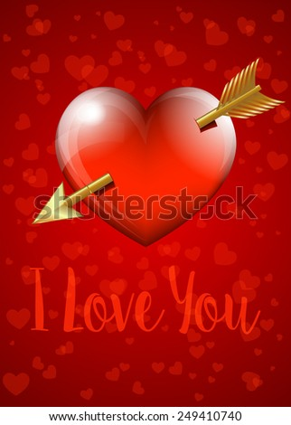 I Love You - Valentine Heart with Arrow Card - Raster Version - stock photo