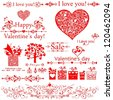 I love you! Valentine's Day. Set of Valentine's calligraphic headlines with hearts. Collection of design elements vintage set isolated on White background. illustration - stock photo