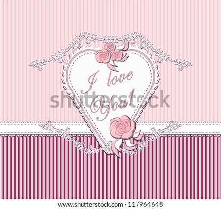 I love you with heart and roses in pink color