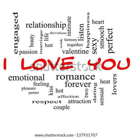 I Love You Word Cloud Concept in Red Caps with great terms such as valentine, lovers, kiss, romance and more.
