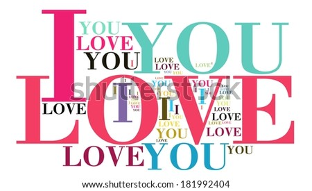 I LOVE YOU word cloud style - stock photo