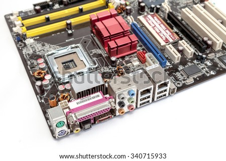I/O ports of computer motherboard white background isolated
