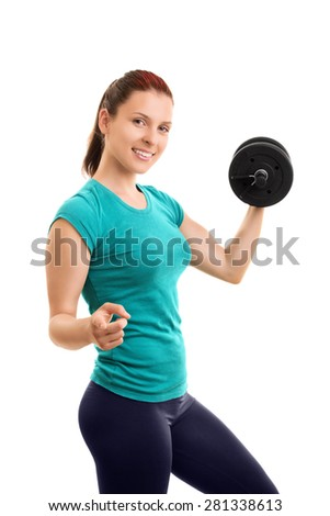 I pull my weight. Do you? Young girl lifting weights and pointing towards you isolated on white background