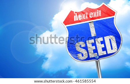 i seed, 3D rendering, blue street sign