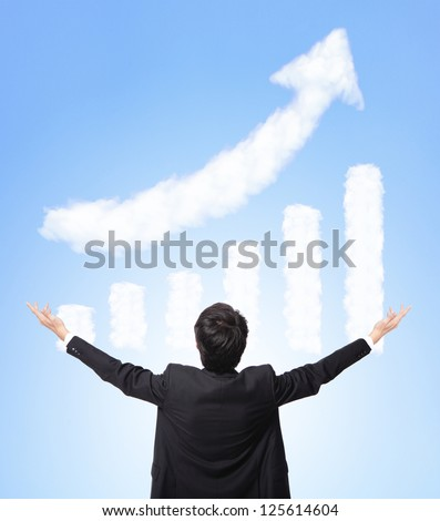 I want be rich - back view of Business man hug a growth graph ( made by cloud ) in the air with blue sky, finance and business concept, asian model - stock photo