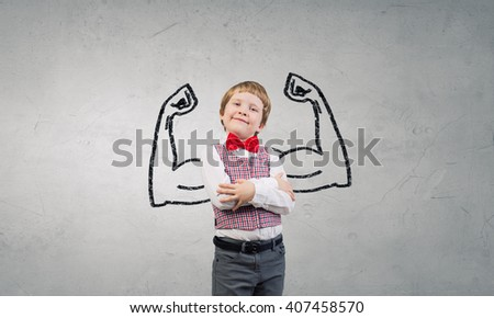I will be strong as father - stock photo