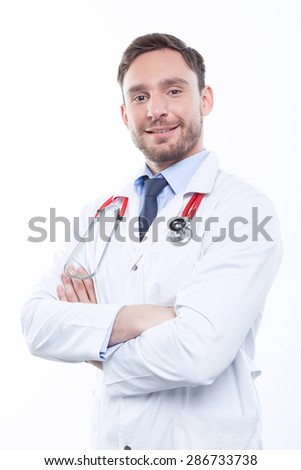 I will cure you. Vivacious doctor bending his hands and smiling while standing isolated on white background.