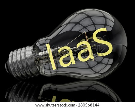 IaaS - Infrastructure as a Service - lightbulb on black background with text in it. 3d render illustration. - stock photo