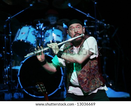 Ian Scott Anderson, the Jethro Tull lead singer and flautist, performs at a concert hall in Moscow on March 22, 2005.