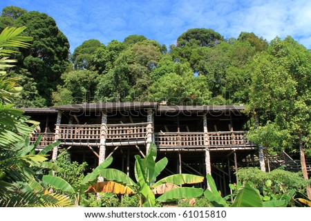 Iban Longhouse, home to former headhunters of Borneo