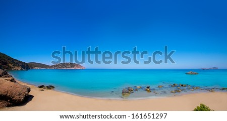 Ibiza Aigues Blanques panoramic Aguas Blancas Beach at Santa Eulalia Balearic Islands of spain