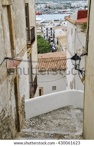 IBIZA, BALEARIC ISLAND, SPAIN, EUROPE - SEPTEMBER 23, 2010:  streets in the cultural center of Dalt Vila