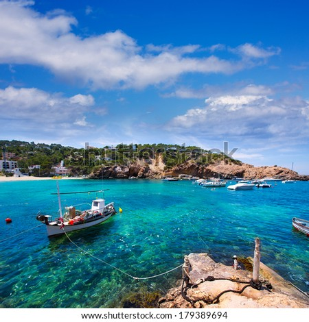 Ibiza Cala Vedella Vadella in San Jose at Balearic Islands of spain