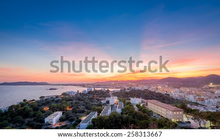 Ibiza island after sunset landscape. View from Dalt Vila fortress. Spain